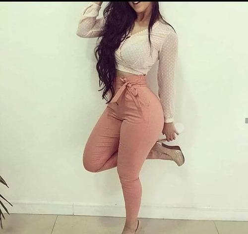 Calça De Bengaline Cores Com Ziper Feminina Moda Clochard