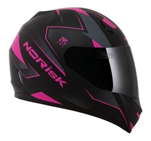 Capacete Para Moto  Integral Norisk  Ff391 Stunt  Black E Pink Stripes Tamanho 58