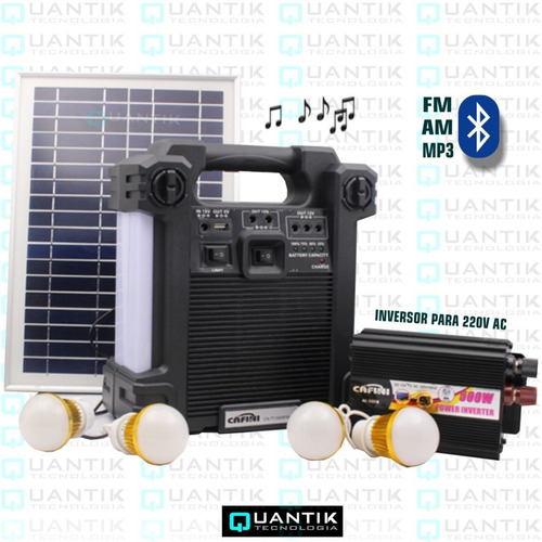 Kit Solar Portátil+4 Focos+inversor220v+radio Fm,am+bluetoot