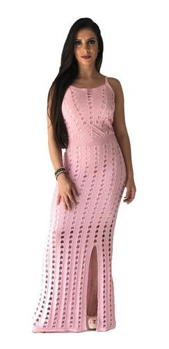 Vestido Longo Feminino Tricô Tricot Crochê Fenda Tendência