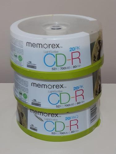 20 Cd-r Memorex Lightscribe 52x - 700mb Tubo Lacrado
