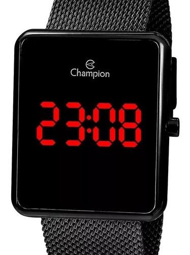 Relógio Champion Feminino Digital Preto Led Vermelho