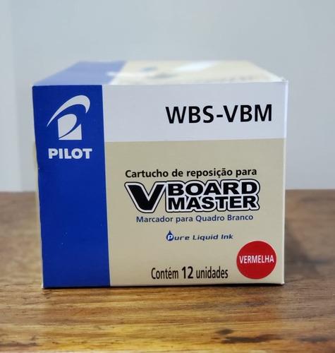 Refil Marcador Quadro Branco Vboard Master Vermelho 12 Unid