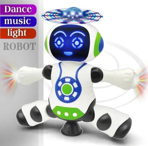 Brinquedo Robô Dança Gira 360 Graus Robot Som E Luz