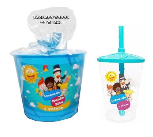 Kit Personalizado Balde De Pipoca 2l + Copo Twister 60 Itens