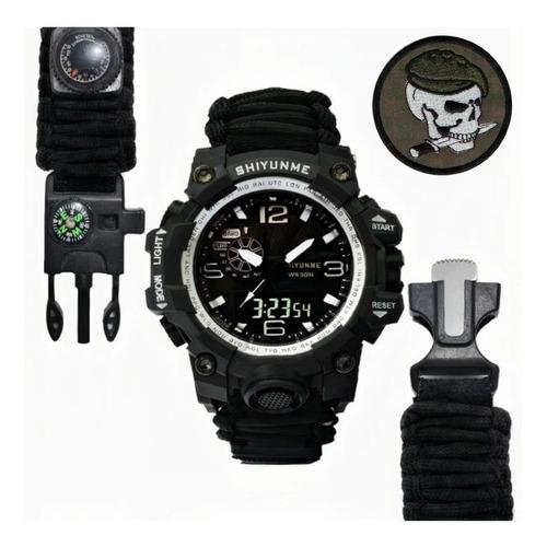 Relógio Sobrevivência Multifuncional 7em1 - S. Militar Preto