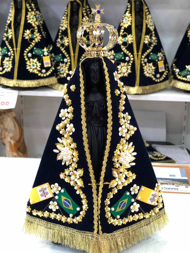 Imagem Nossa Senhora Aparecida 25cm - Resina/ Manto/ Coroa