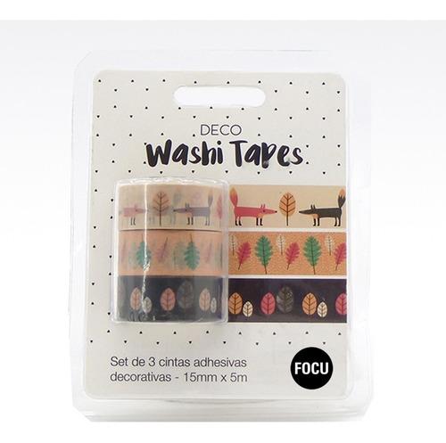 Washi Tape Papel Deco Hojas - 3 Cintas De 15mm X 5 Metros