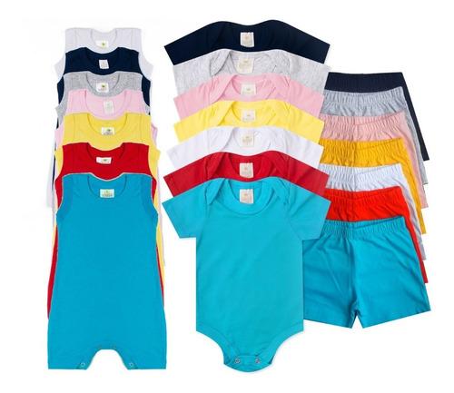 Kit C/ 18 Pçs Body Bebê+shorts+macacão 100% Algodão Verão