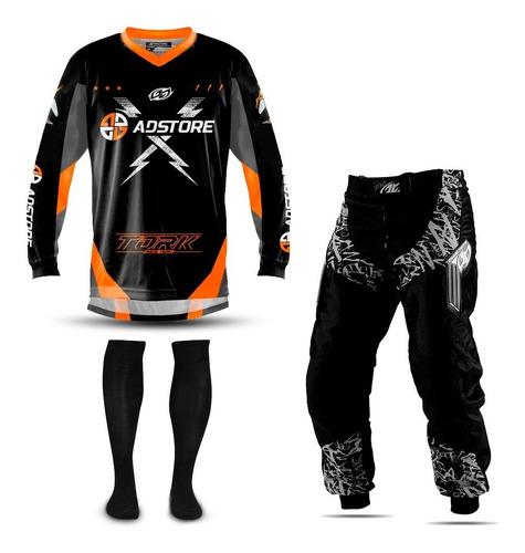 Calça E Camisa Motocross Trilha Ad Store Pro Tork + Meião Nf