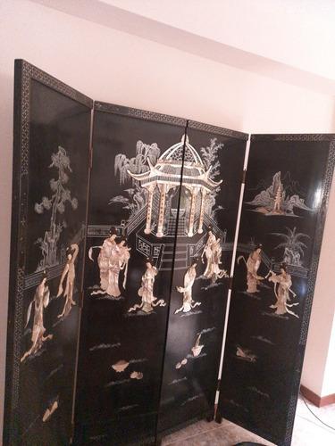 Mueble Paraban Chino Figuras En Relieve En Nacar