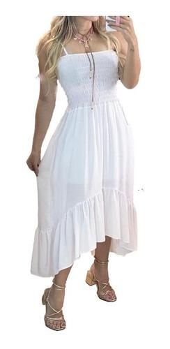 Vestido Com Lastex Modelo Mullet De Alça Moda Feminina Verão
