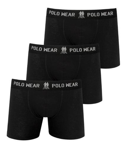 Kit Cuecas Boxer Preto Polo Wear (3 Unidades)
