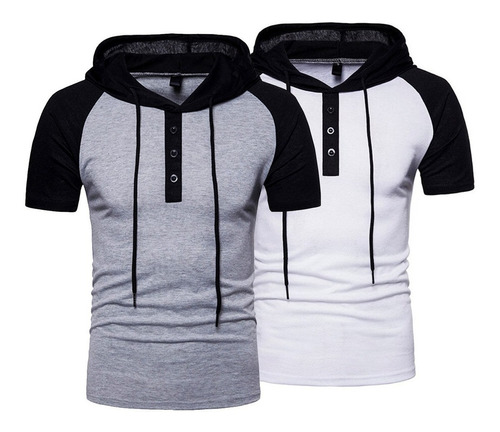 Kit 2 Camisa Polo Capuz Masculina Camiseta Cordão Cores