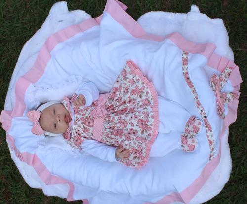 Saída De Maternidade Menina Rosa Linda Rosa 5 Peças.