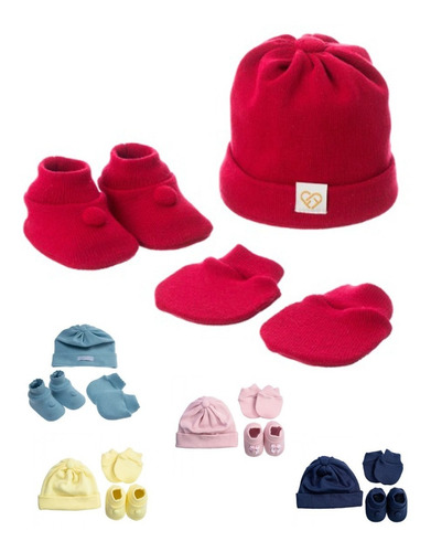 Kit Touca, Luva E Sapatinho Tricô Para  Bebê Maternidade
