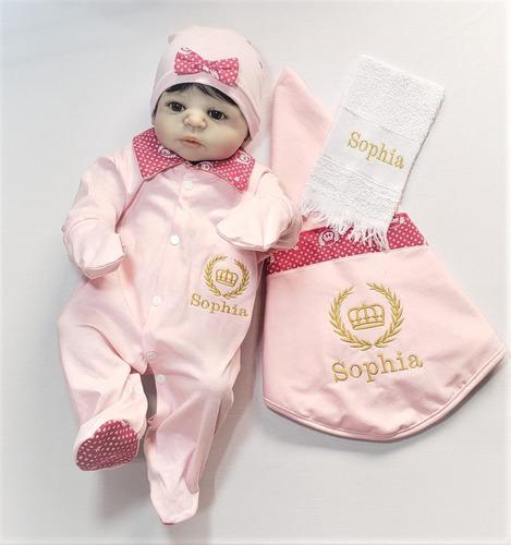 Bodie Saída Maternidade Menina Personalizada Princesa Rosa