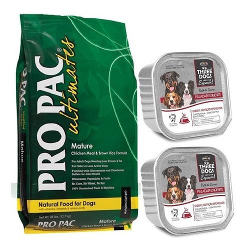 Comida Perro Pro Pac Mature 12kg + 2 Peté + Envío