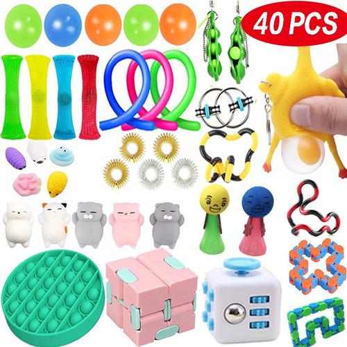 Kit De Brinquedos Pop It Fidget Toy-push 40pcs