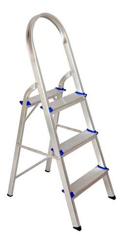 Escada Doméstica De Alumínio 3 Degraus Até 120kg Real Escada