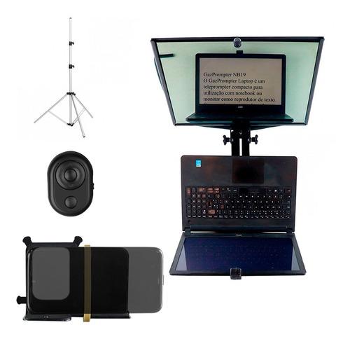 Kit Completo Tele Prompter Para Notebook Até 16 Polegadas