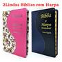Kit 2 Bíblia Sagrada Com Harpa Letra Gigante Para O Casal