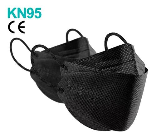 Máscara Kn95 Ffp2 Modelo 3d Boca De Peixe Reutilizável Preta