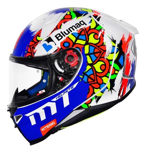 Capacete Mt Revenge 2 Moto3 Branco Azul Capacete Moto