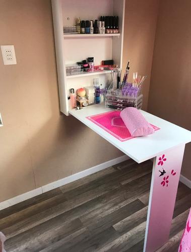 Mesa Para Manicure (uñas) Con Su Repisa Porta Esmaltes.