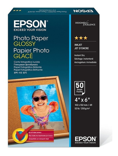 Papel Fotográfico Epson Photo Glossy 10x15 200gr 150 Folhas
