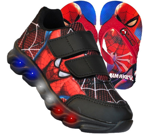 Tênis Infantil Velcro Led Homem Aranha Personagem  + Chinelo