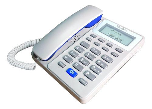 Teléfono Fijo Panacom Pa-7600 Blanco Y Azul