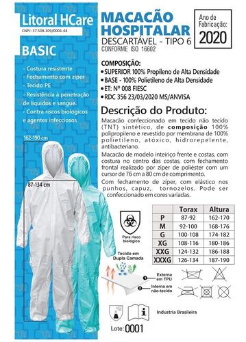 Macacão Hospitalar Descartável - Kit 50 Unidades