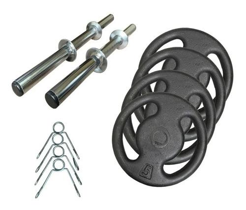 Kit 20kg Com Barras E Anilhas P/ Musculação Halter