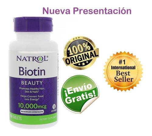 Biotin Natrol 10000mcg X 100 Tab - Origi - L a $700