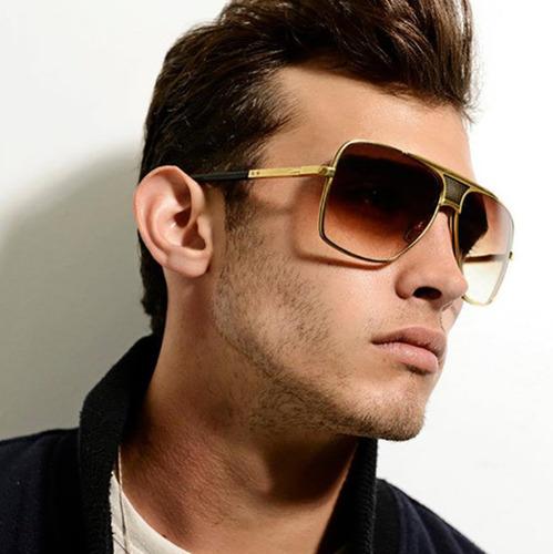 Óculos De Sol Quadrado Masculino Luxo Retro Armação Dourado
