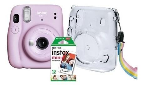 Câmera Fujifilm Instax Mini 11 Lilás Bolsa 10 Fotos