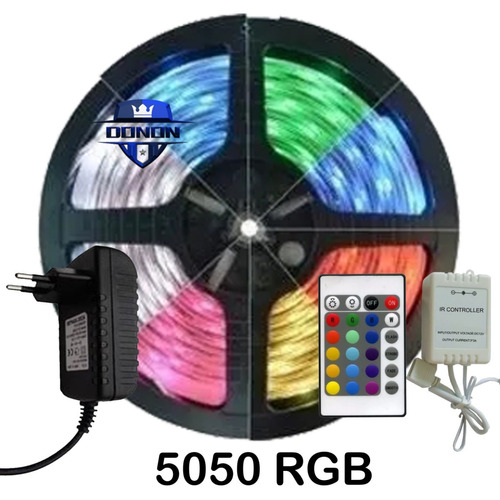 Fita Led 5m Rgb 16 Cores 5050 Prova D'agua Controle Fonte 3a