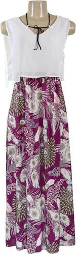 Vestido Longo Feminino Estampado Floral Com E Sem Pingente