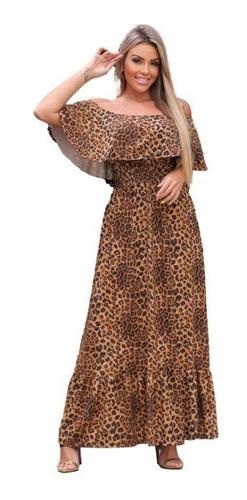 Vestido Longo Feminino Franzido Ciganinha Estampado