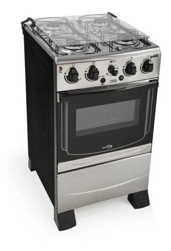 Cocina Delne Pod Combi Inox  Gas Envasado 4 Hornallas  Plateada Y Negra Puerta  Con Visor 50l