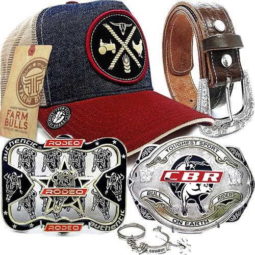 Kit Cowboy Oferta Boné Farm Bulls + Cinto Fivela Country