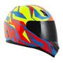 Capacete Para Moto Integral Norisk Ff391 Stunt Azul celeste E Amarelo E Vermelho Cutting Tamanho 54