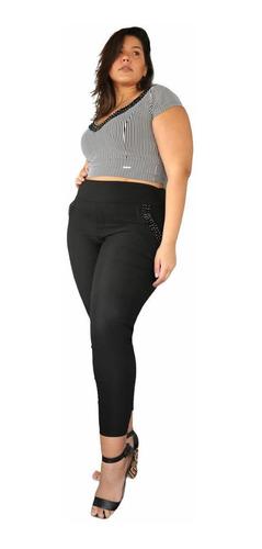 Calça Feminina Plus Size Com Pedraria Bengaline Preta G1