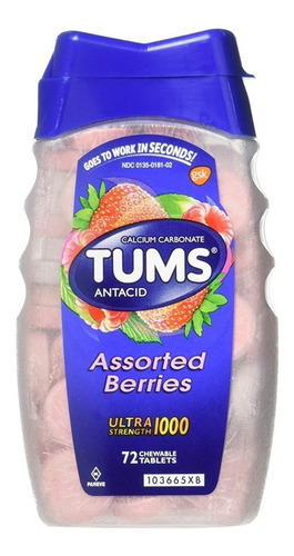 Antiacido Tums 72 Tabletas Sabor Assorted Berries 1000 Mg