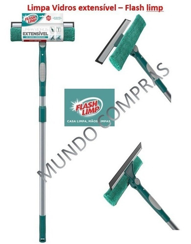 Mop Rodo Limpa Vidros Extensível Flash Limp 1,60m - Original