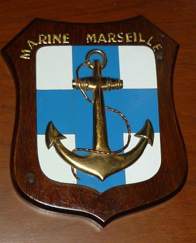 Antigua Panoplia (escudo) Marsella Bronce Y Ceramica