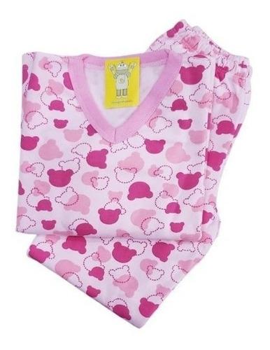 Pijama Infantil Flanelado - 4 Ao 8 - Ursinho Rosa