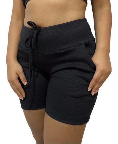 Shorts Feminino Bermuda Feminina Com Elastano Cintura Alta
