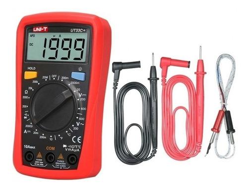 Multimetro Digital Uni-t Ut33c+, Temperatura, Tester Ac/dc *